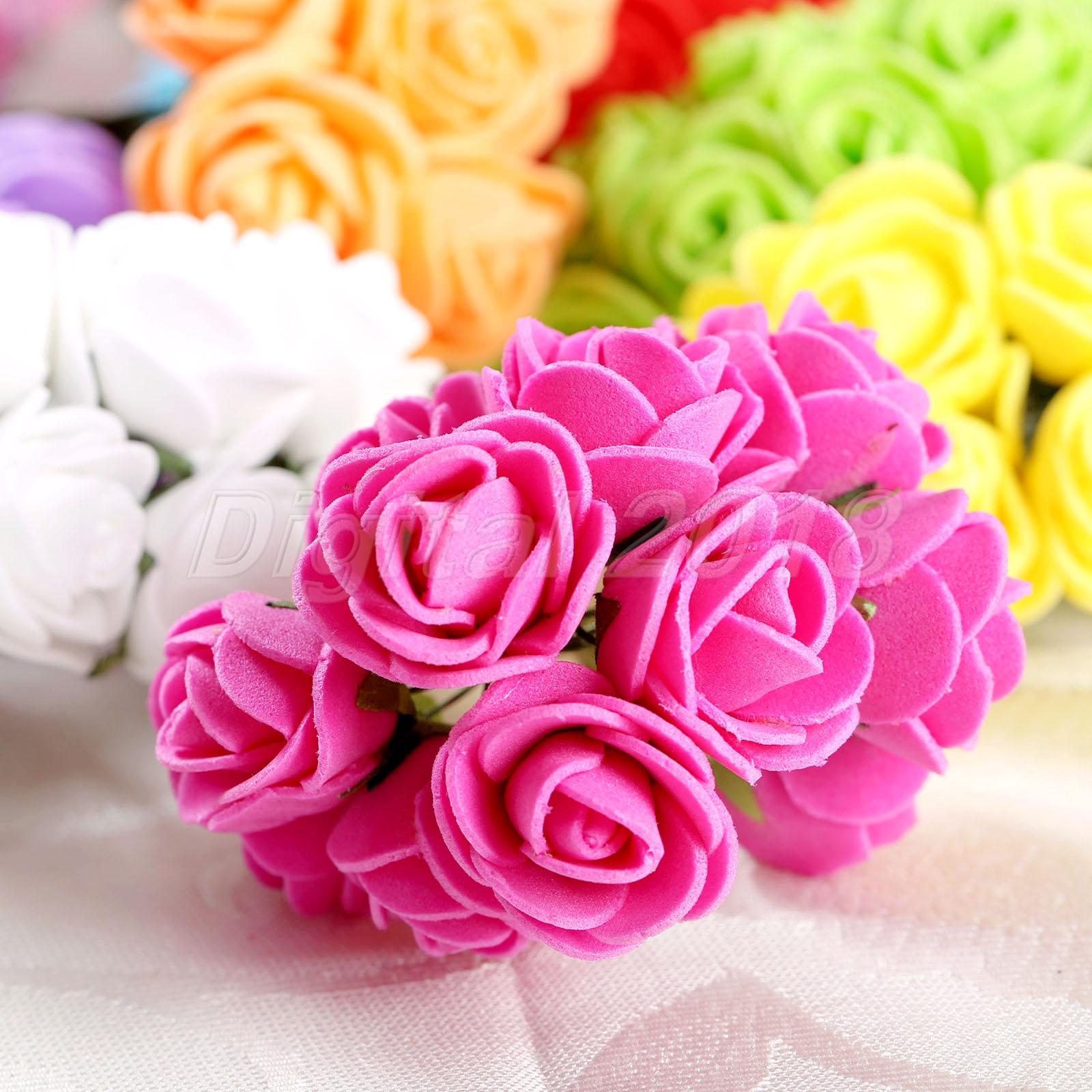 Mini Artificial Foam Rose Diy Wreaths Silk Flowers Multicolor