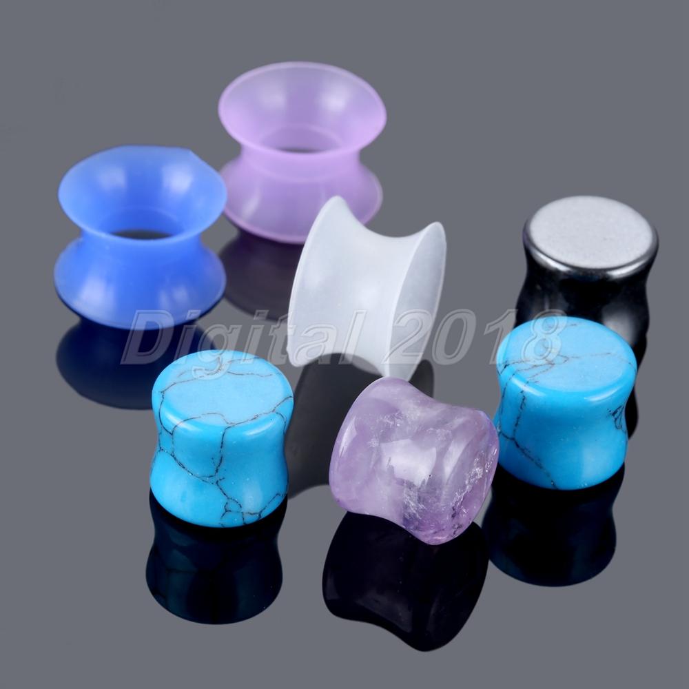 Covet Jewelry Glow in The Dark Ultra Thin Flexible Silicone Ear Skin Double Flared Tunnel Plug