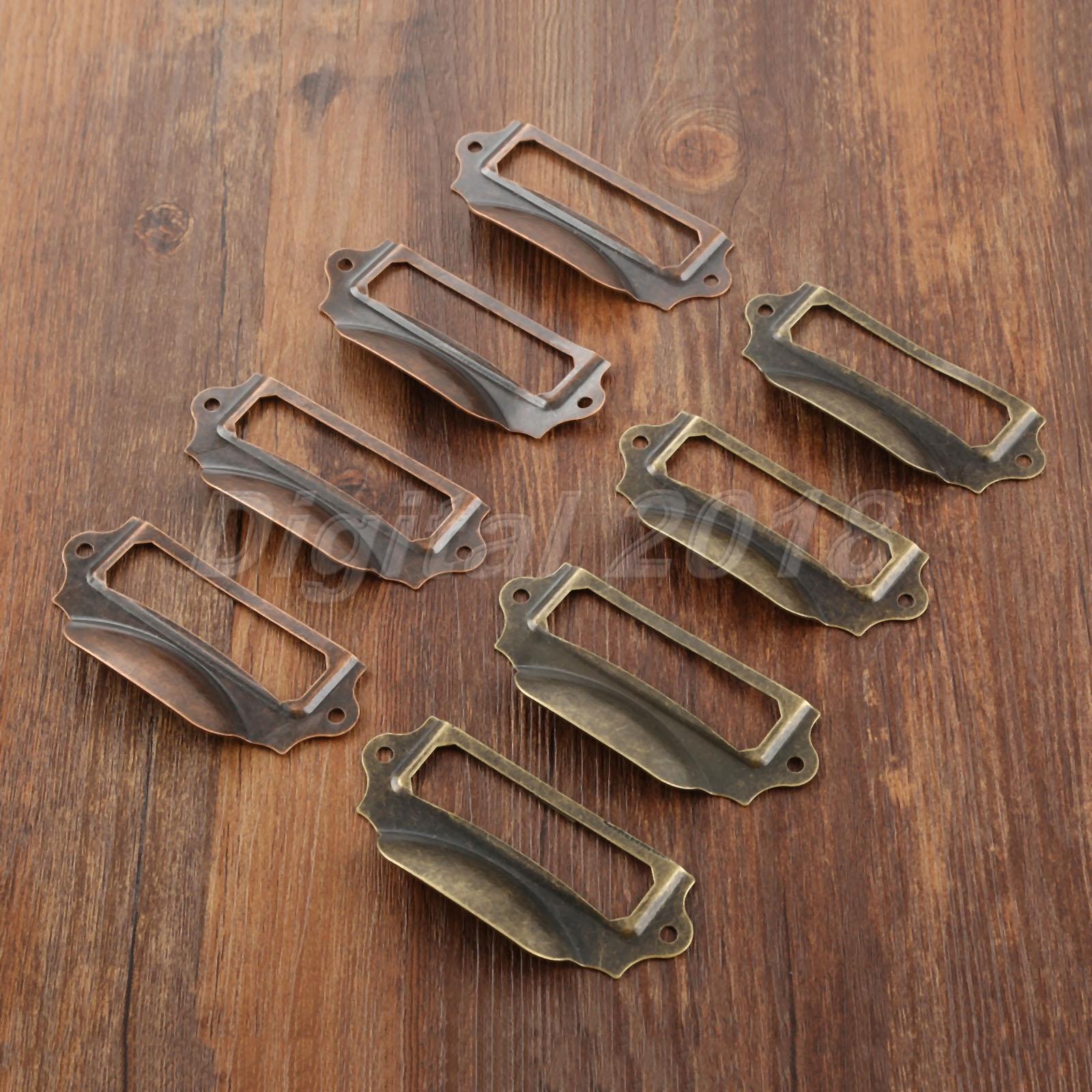 - l45 5557mm 4 Small Tags Pulls 2.162.24 Vintage Metal Nose Drawer Pulls Card  Handle Label Frames